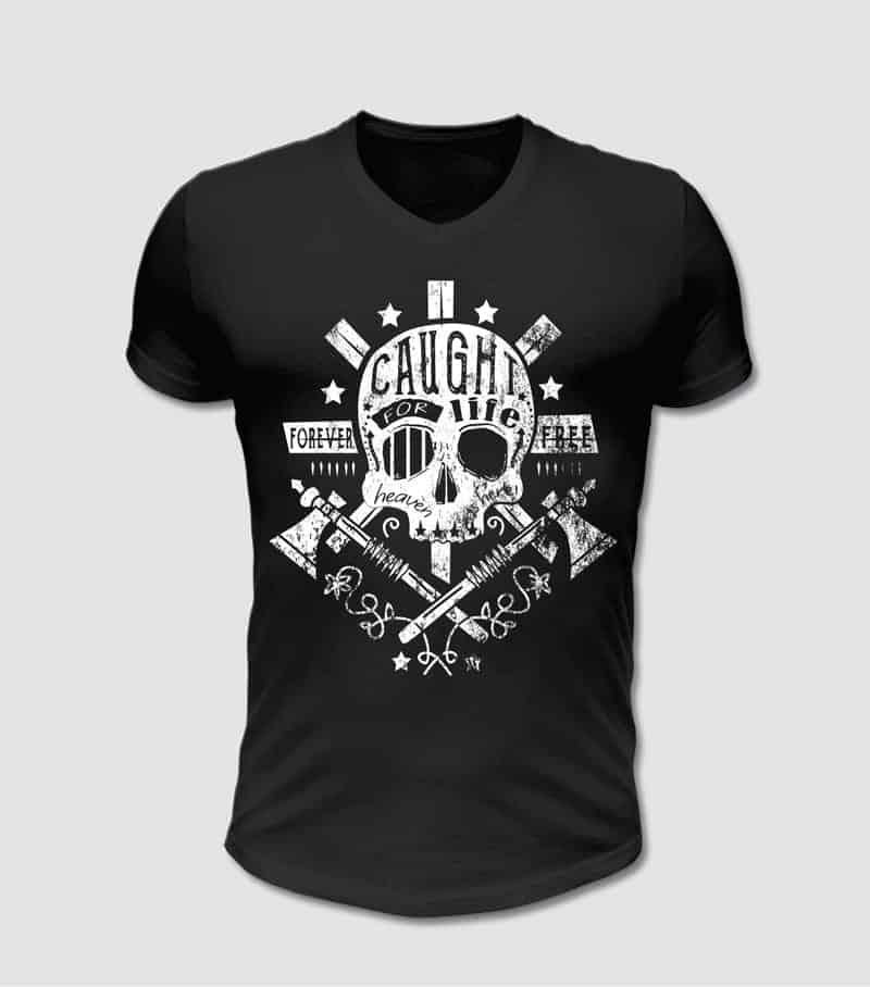 T-Shirt schwarz mit Totenkopf und Axt Motiv