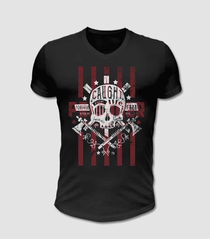 T-Shirt schwarz mit Totenkopf und Axt Motiv bedruckt rot und weiss