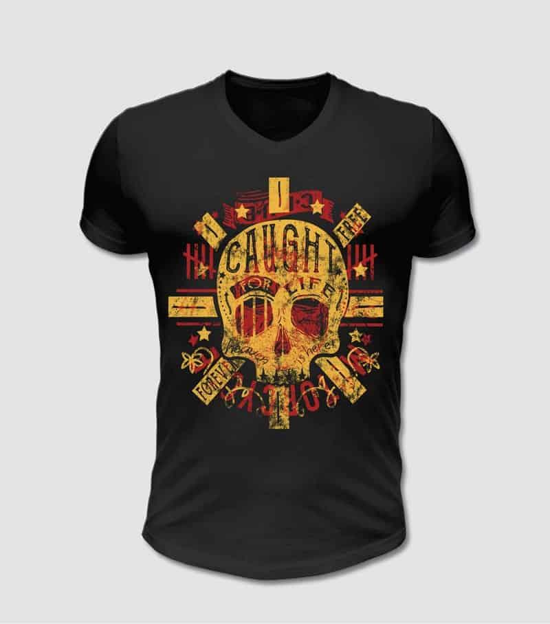 T-Shirt schwarz mit Totenkopf Motiv bedruckt rot und gelb