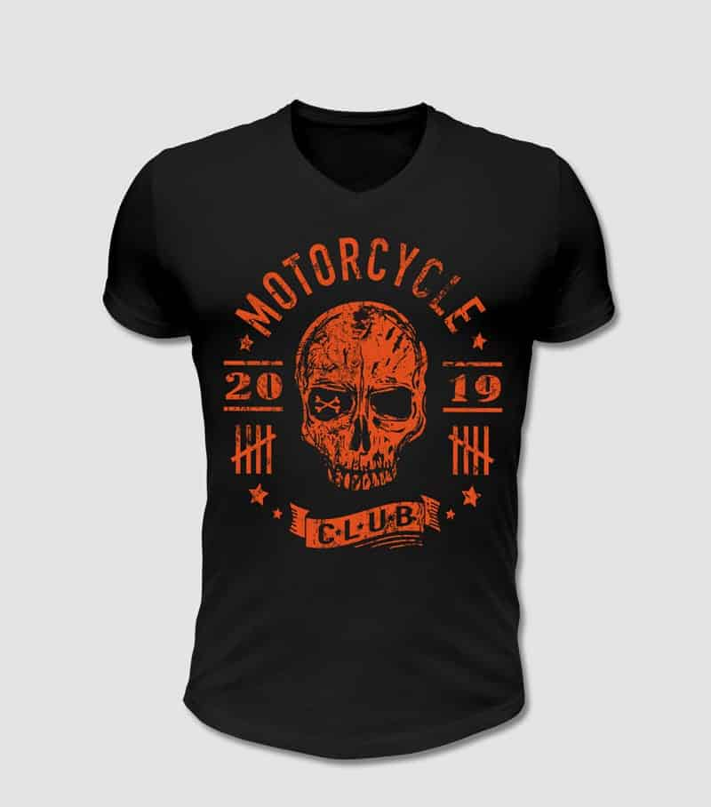 Motoclyle, Motorrad Club T-Shirt in schwarz mit Totenkopf Motiv
