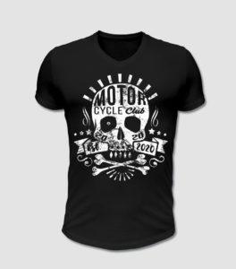 Mototrrad Club, Biker T-Shirt in mit Totenkopf Motiv in schwarz