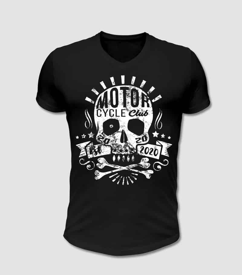 Motoclyle, Motorrad Club, Biker T-Shirt in schwarz mit Totenkopf Motiv