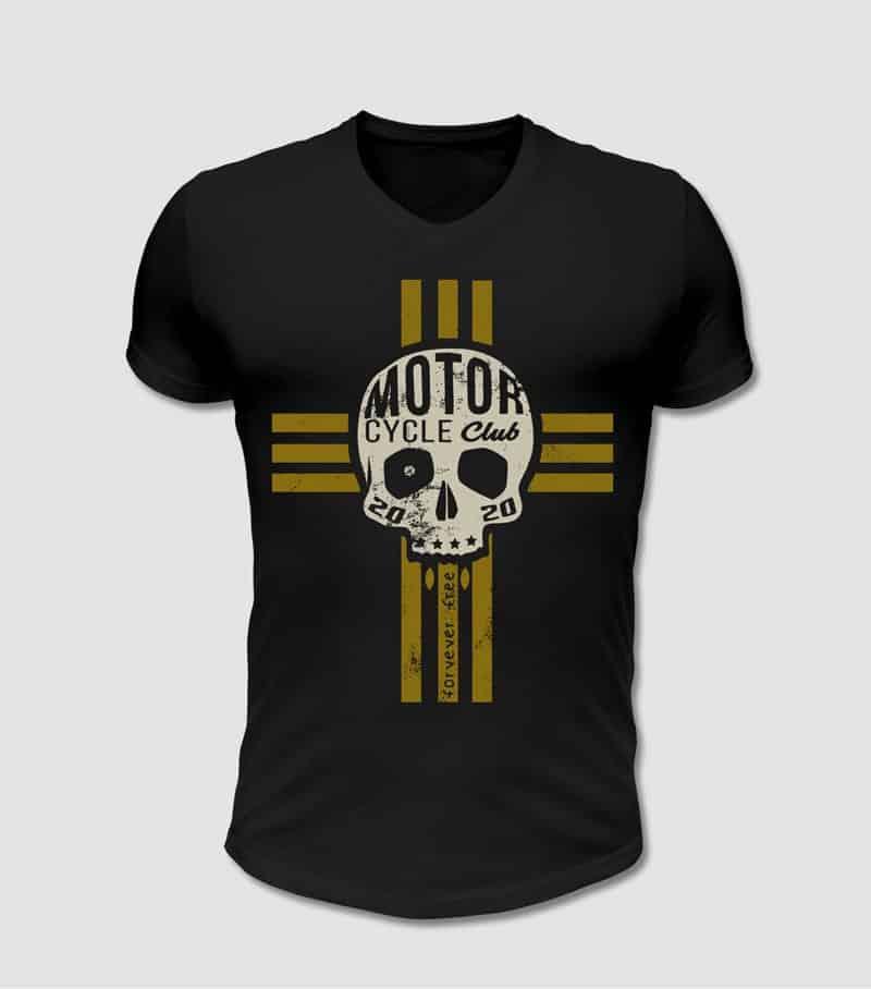Biker T-Shirt schwarz mit Totenkopf und Kreuz Motiv bedruckt