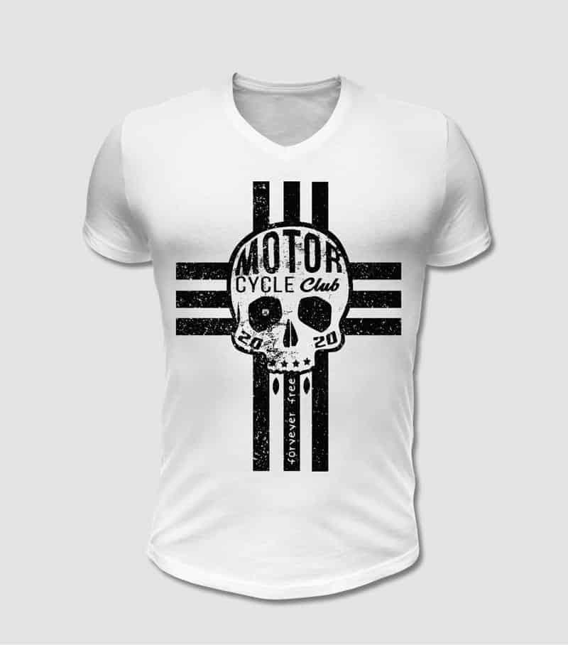 Biker T-Shirt in weiss mit schwarzem Totenkopf und Kreuz Motiv bedruckt