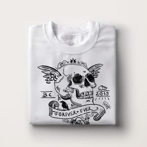 Skull Shirt bedruckt weiss