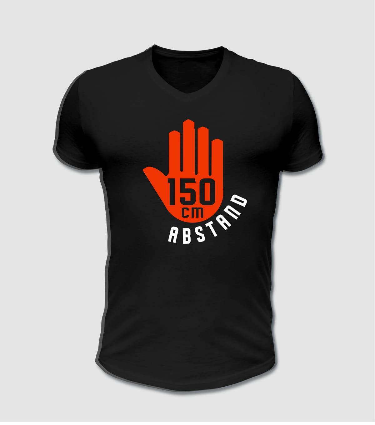 Abstand T-Shirt, bitte 150cm Abstand halten