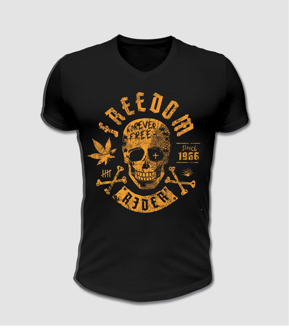Biker Mototrrad Shirt mit Totenkopf und Marijuana