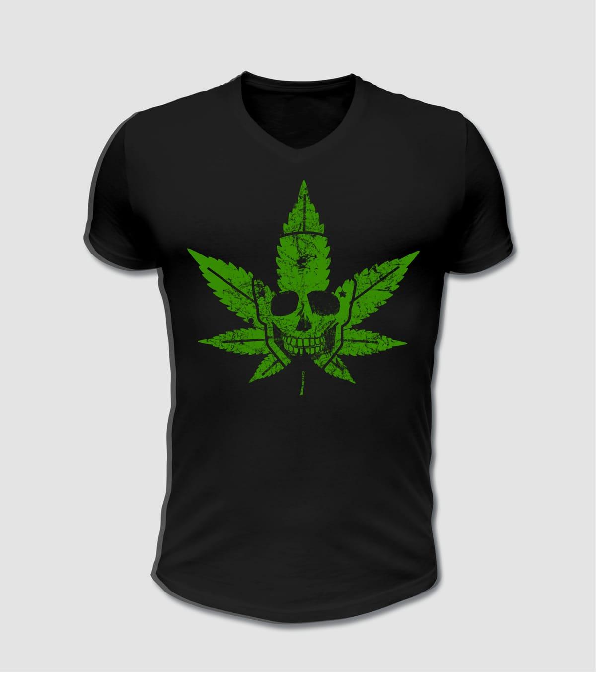 Biker T-Shirt mit Totenkopf Hanf Motiv