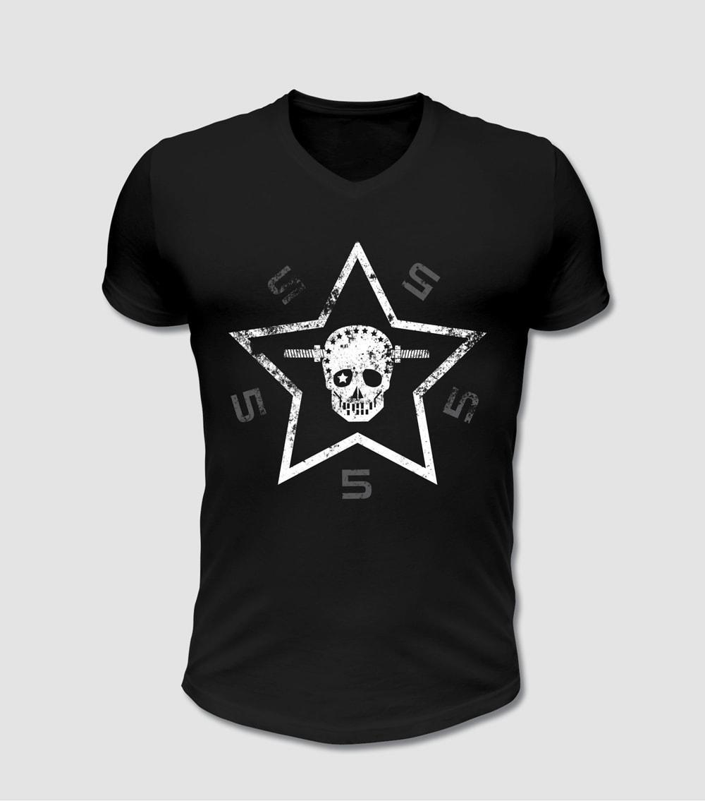 Biker T-shirt Totenkopf und Stern Motiv