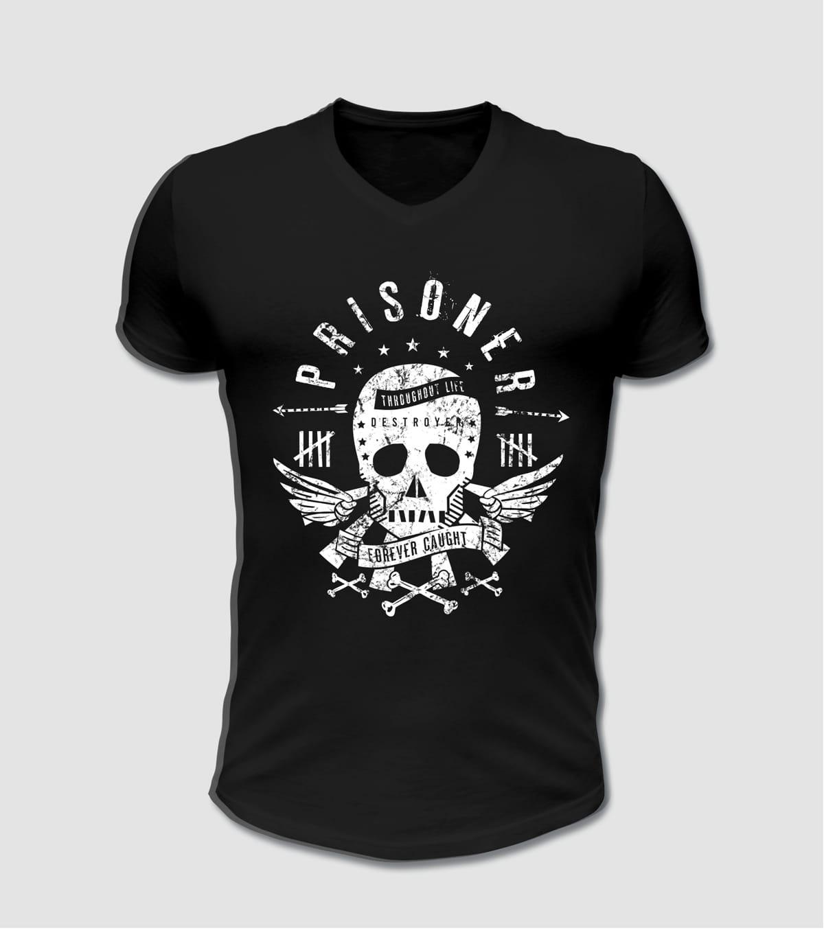 T-Shirt schwarz mit Totenkopf Motiv bedruckt