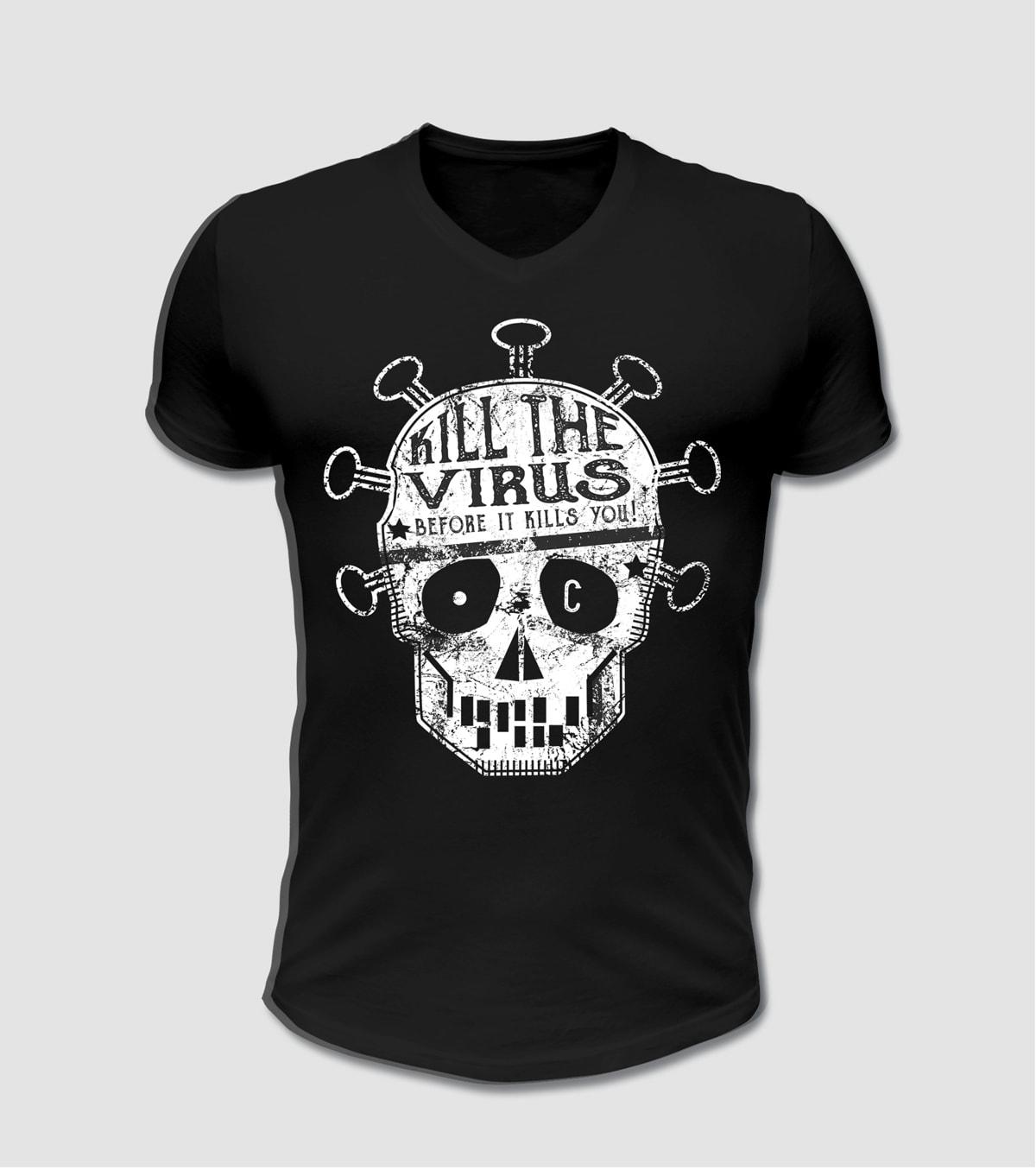 Corona Virus T-Shirt mit Totenkopf Motiv